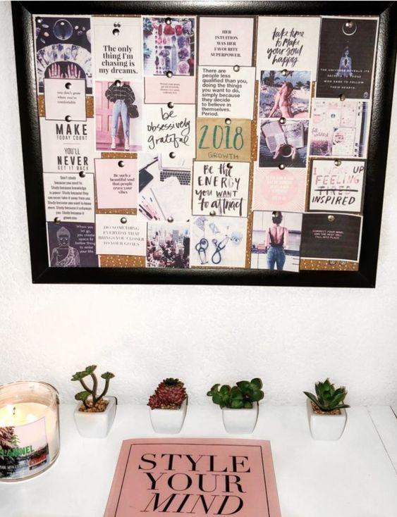 créer un vision board sur son bureau