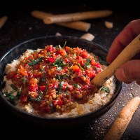 Grilled Mushroom Hummus with Muhammara