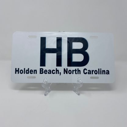 Holden Beach License Plate - HB on White