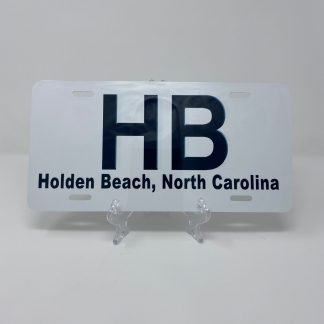 Holden Beach License Plate - HB on White