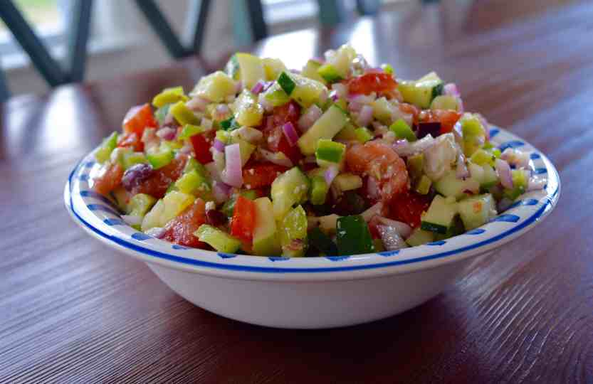 Simple Greek Salad from The Beard and The Baker