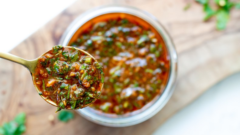 Smoky Red Chimichurri Sauce The Bearded Hiker