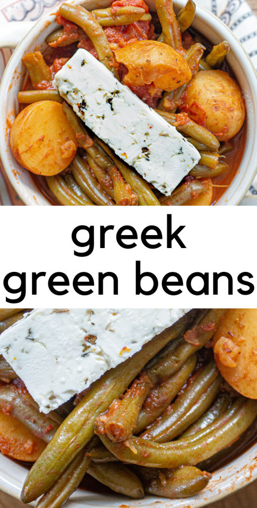 Greek green beans (fasolakia) in your Instant Pot! A vibrant mixture of green beans, potatoes, tomatoes and spices, Greek green beans will soon become one of your favorites!