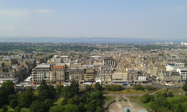 A view over the city from Edinburgh Castle