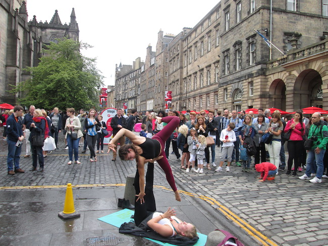"""Performers often dress up or do small acts along the """"Royal Mile"""" to interest visitors in their shows"""