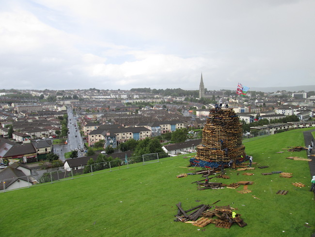 Bonfire preparation on the hill in Derry, Northern Ireland
