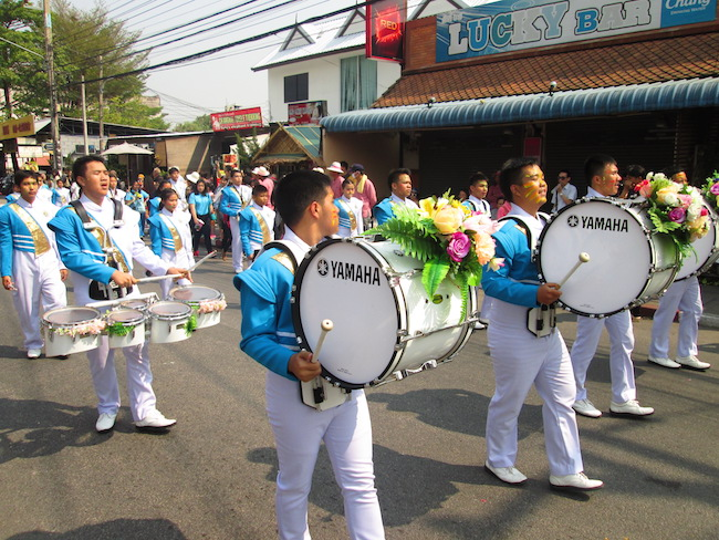 Numerous school bands performed.