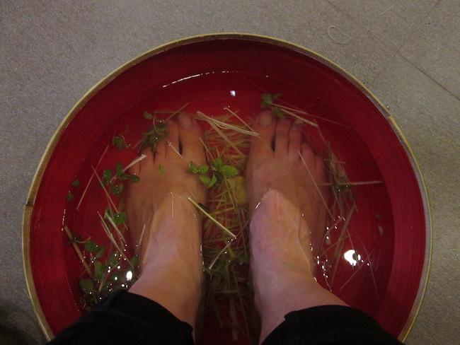 Pre-massage pampering