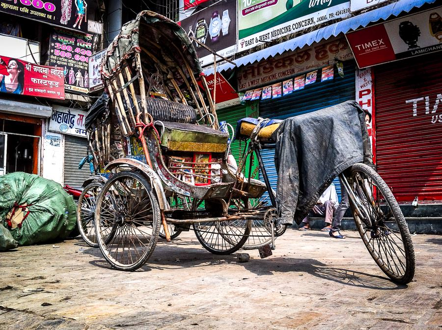 A rickshaw on the streets of Kathmandu, Nepal