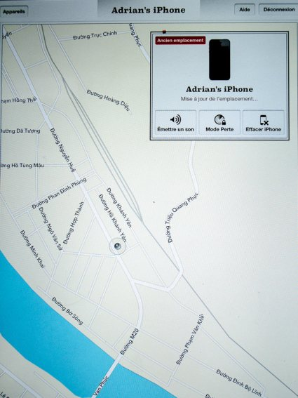 A photo of the iPad screen displaying the location of Adrian's missing iPhone.