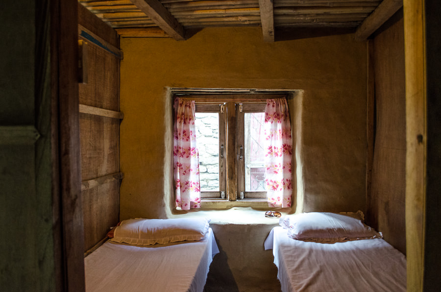Our tiny room in Bahundanda, Nepal