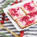 THE BEST HOLIDAY CRANBERRY CHEESECAKE BARS | Made with a buttery gingersnap crust, orange scented cheesecake and zesty cranberry sauce this dessert is great for any holiday gathering or party. 3olidaydesserts #dessert #cranberry #cranberries #gingersnaps