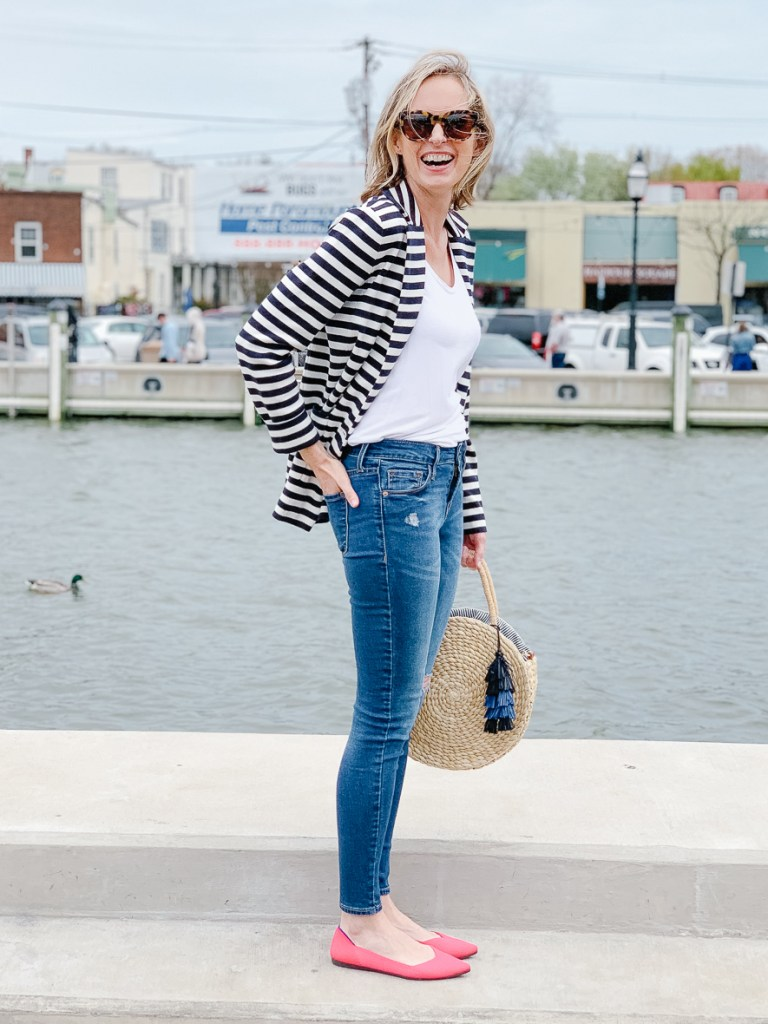 THE PERFECT SPRING BLAZER | I am sharing the perfect spring blazer, perfect for work paired with dress pants, or with denim for a casual lunch date. The stripes add a fresh spin to a classic style and the cozy sweater material keeps you warm on chilly days.  It is a perfect combo of chic and makes the perfect spring outfit idea. #springoutfit #outfitidea #realoutfit #over40 #styleover40 #over40style #fashionover40 #shopstyle #momoutfit #sweaterblazer