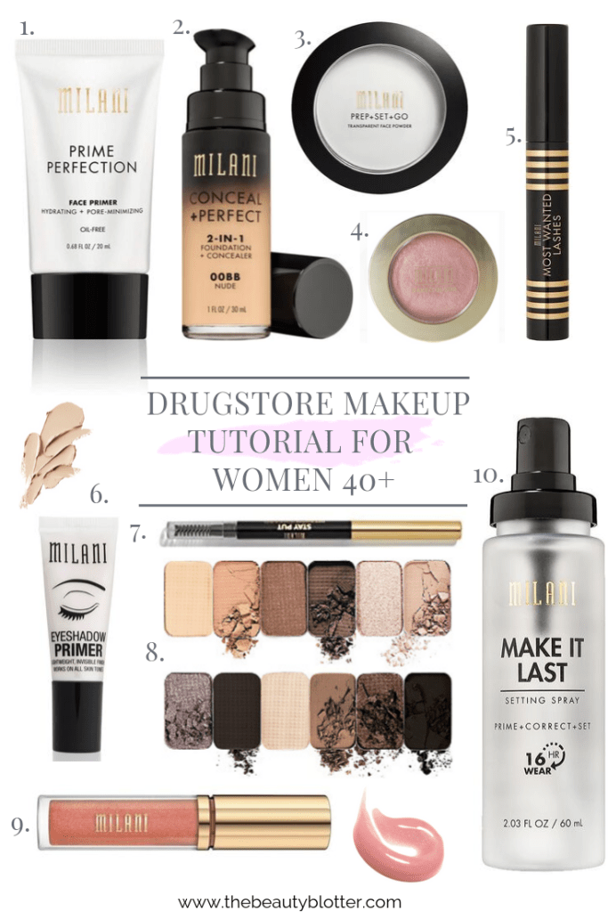 DRUGSTORE MAKEUP TUTORIAL FOR WOMEN 40+ | I am sharing a natural drugstore makeup tutorial  video for women 40+. This budget friendly makeup tutorial is perfect for beginners and women with mature and dry skin. I use my favorite Milani cosmetics in this post, including the Milani baked blush and their iconic plumping glosses for a youthful look.