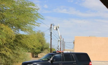 Truck snags overhead line and pulls down three MEC poles