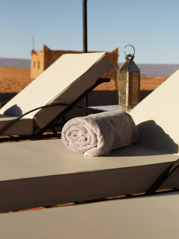 Luxury Sun Loungers and Complimentary Towels for Desert Glamping