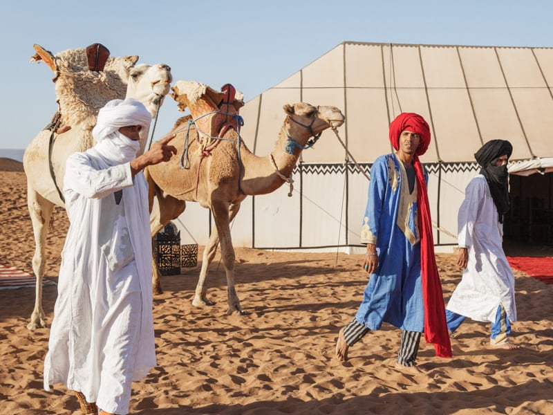 Beldi Travel Guides Leading Tour Camels from the Desert Camp