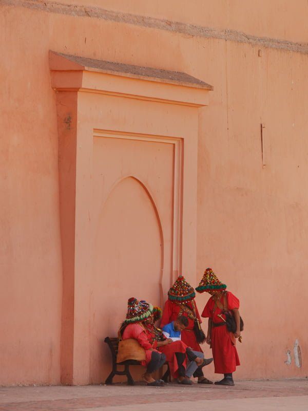Marrakech Local Family in Traditional Dress Clothing in Old Medina Square