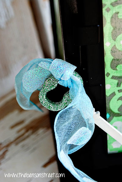 Upcycled Lantern with Glittery Key at www.thebensonstreet.com