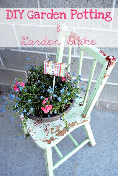DIY Garden Potting and Garden Stake
