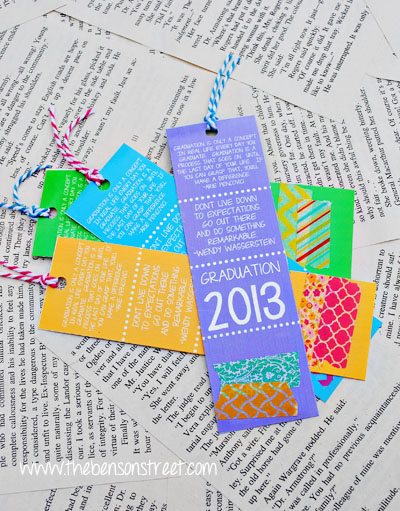Printable Bookmarks for Graduation at www.thebensonstreet.com
