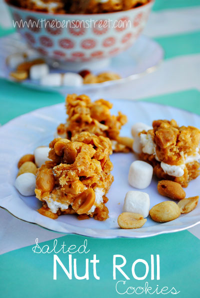 Salted Nut Roll Cookies at www.thebensonstreet.com