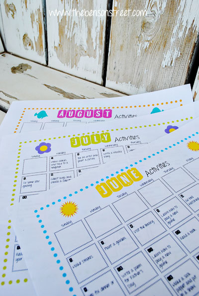 Summer Activity Calendar Printable at www.thebensonstreet.com