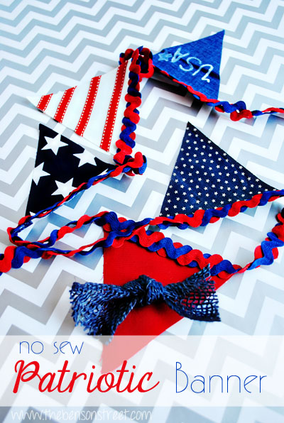 No Sew Patriotic Banner at www.thebensonstreet.com