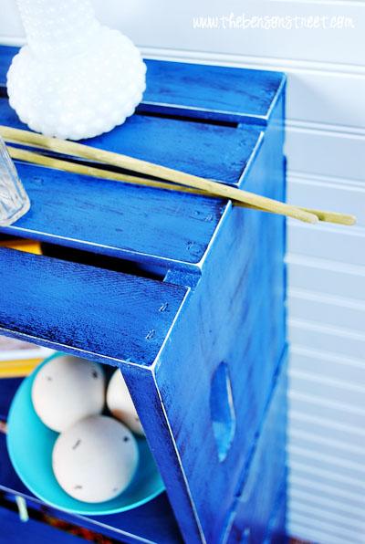 Distressed Cobalt Crate Book Shelf at www.thebensonstreet.com