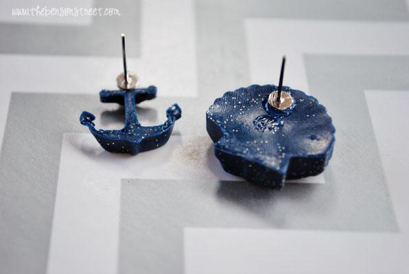 Nautical DIY Clay Earrings at www.thebensonstreet.com