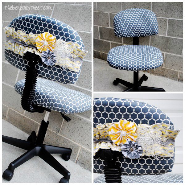 Adorable Office Chair Makeover from scrap fabric at thebensonstreet.com