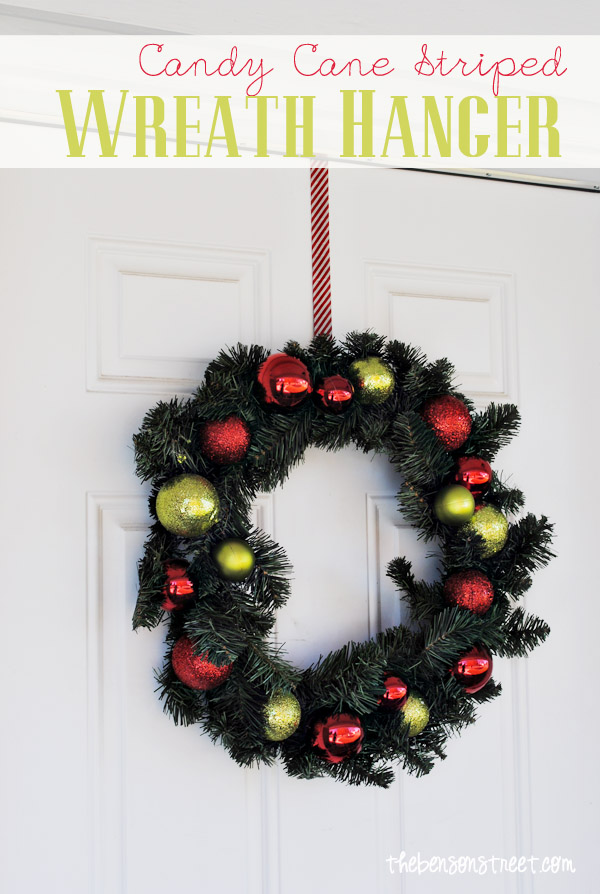 Candy Cane Striped Wreath Hanger at thebensonstreet.com