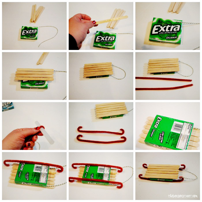 Extra Gum Sled Ornament Tutorial at the bensonstreet.com #shop #GiveExtraGum