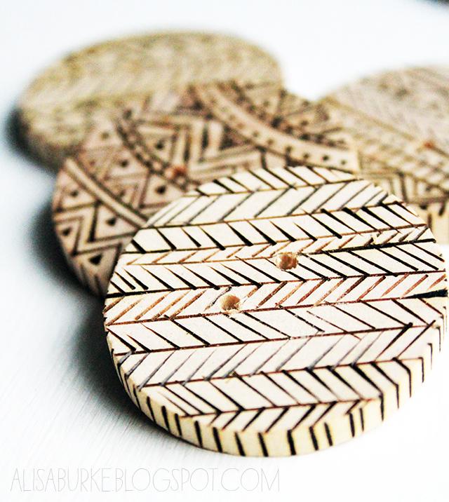 Wood Burn Buttons