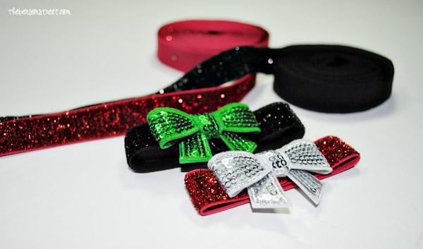Glittery Bow Bracelet tutorial at thebensonstreet.com