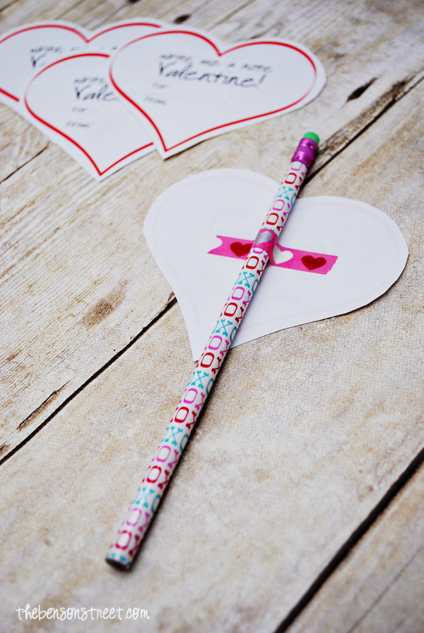 Easy Pencil Valentine Idea at thebensonstreet.com