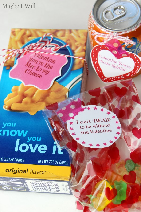 Mac N' Cheese, Soda, and Gummy Bears Printable Valentines