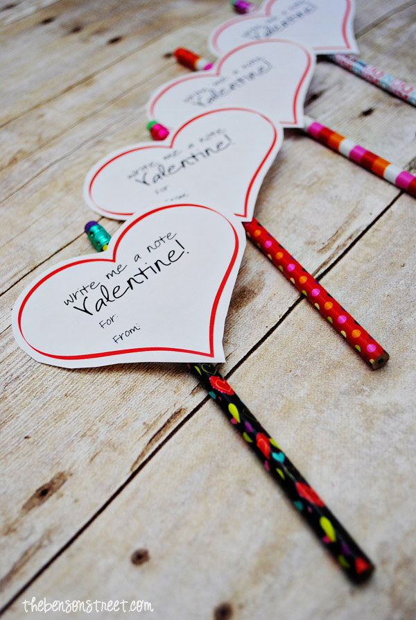 Pencil Printable Valentine at thebensonstreet.com
