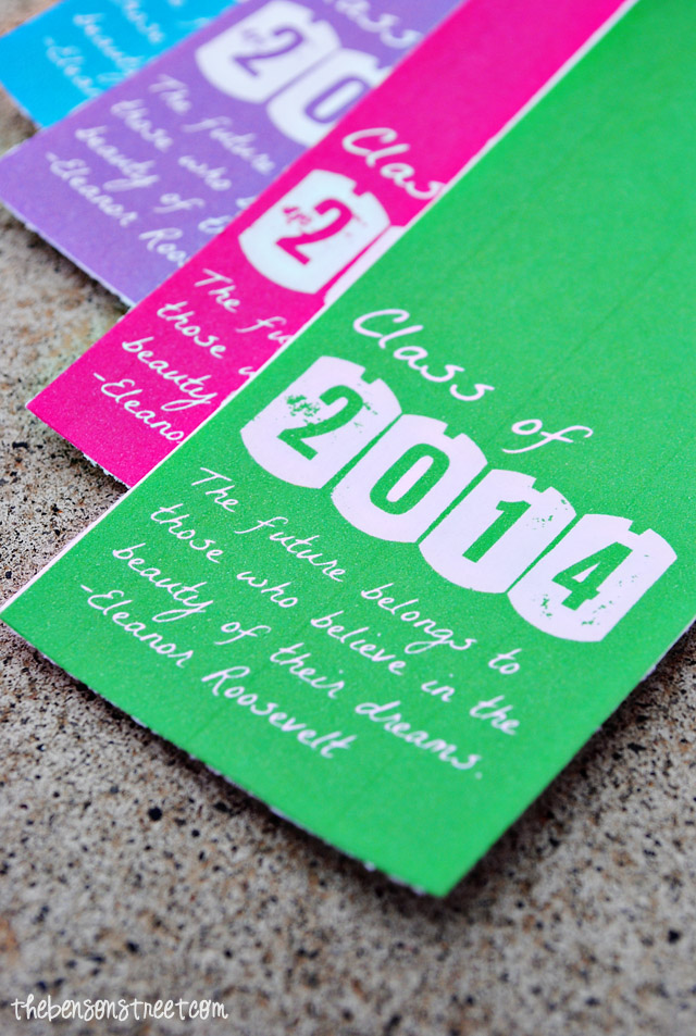 Class of 2014 Graduation Printable Bookmarks at thebensonstreet.com