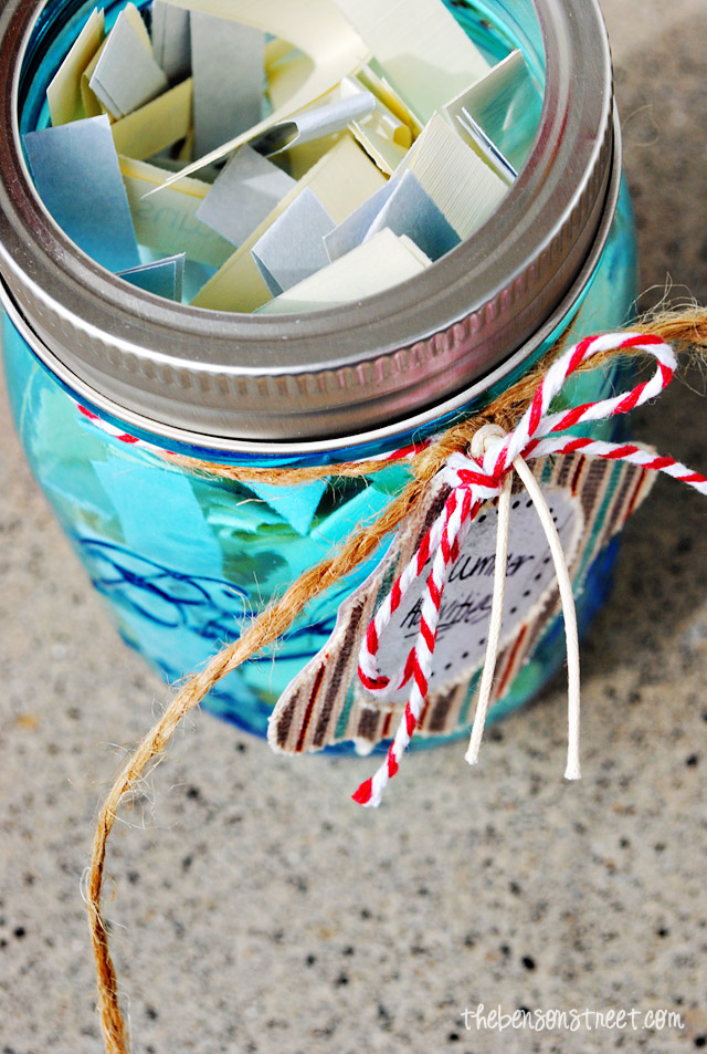 Lots of great ideas to keep kids busy. Summer Activity Jar at thebensonstreet.com