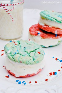 Fun Patriotic Ice Cream Sandwich Cookies at thebensonstreet.com