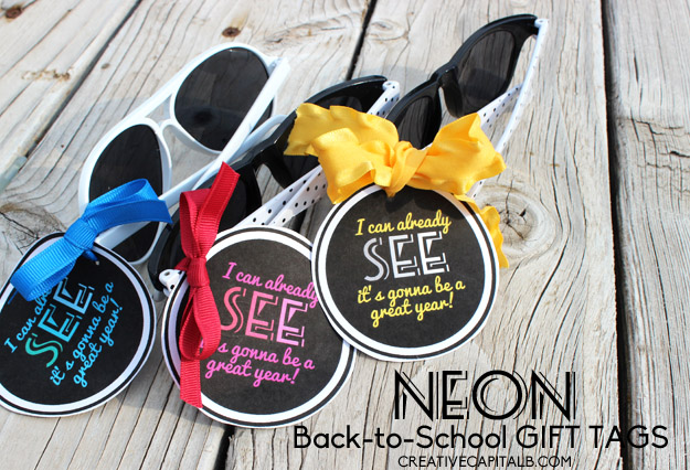 Neon Teacher Sunglasses Gift Tags