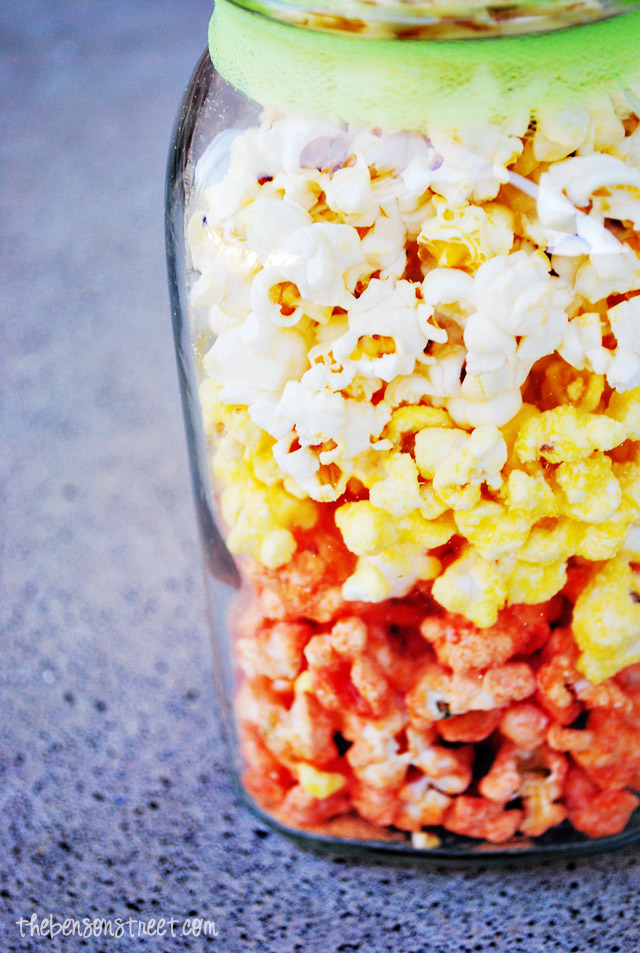 Layered Candy Corn Popcorn at thebensonstreet.com