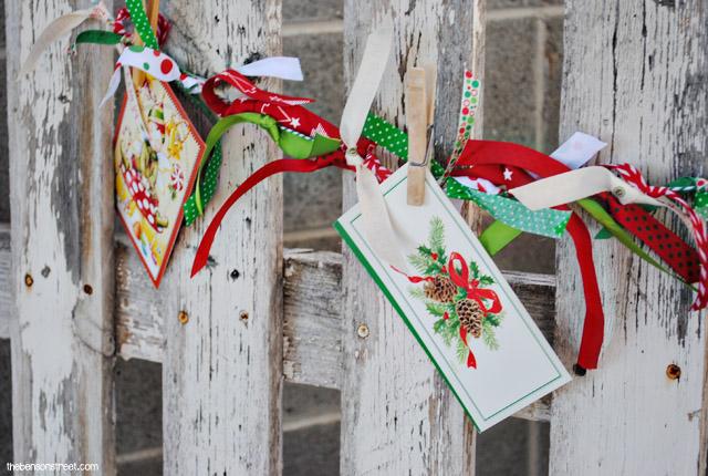 Ribbon Christmas Card Garland Display at thebensonstreet.com