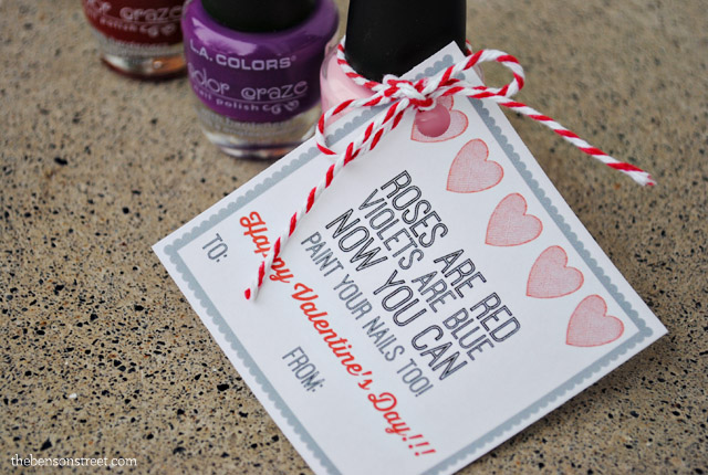 Cute and Easy Nail Polish Valentine plus printable tag at thebensonstreet.com