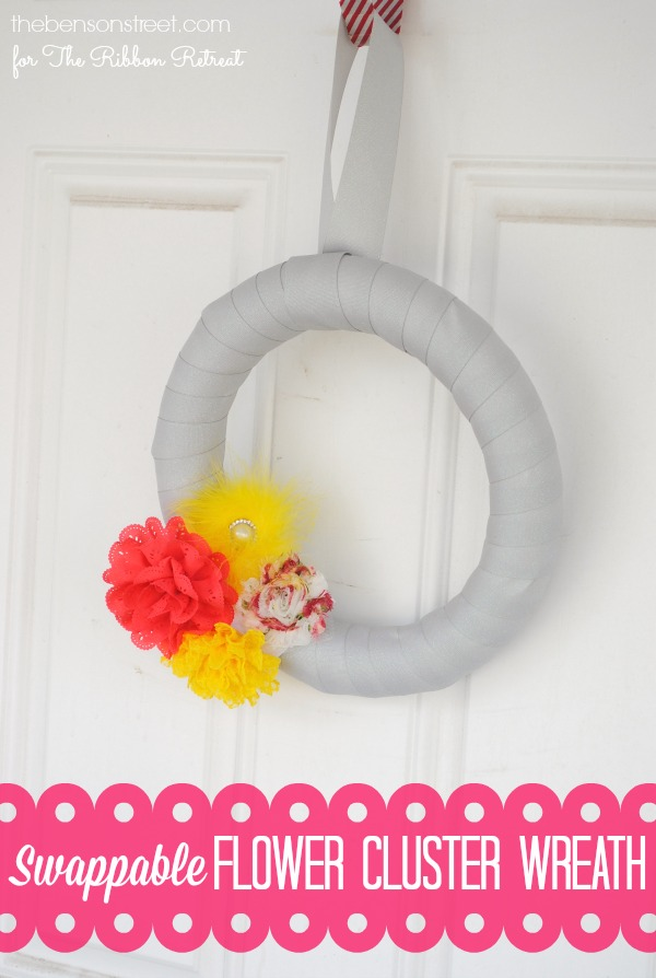 Swappable Flower Cluster Wreath at thebensonstreet.com