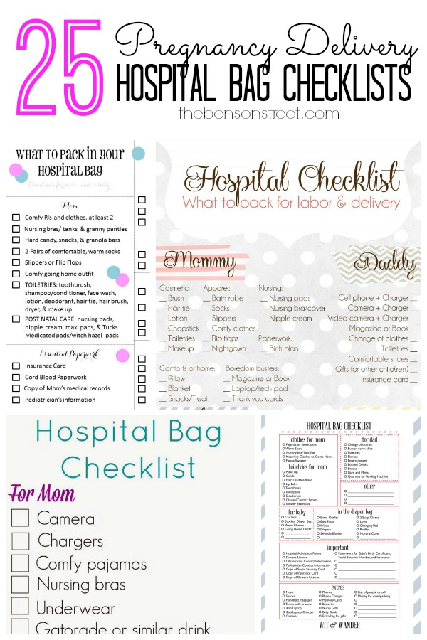 photograph relating to Printable Hospital Bag Checklist for Labor and Delivery identify 25 Being pregnant Transport Clinic Bag Checklists - The Benson