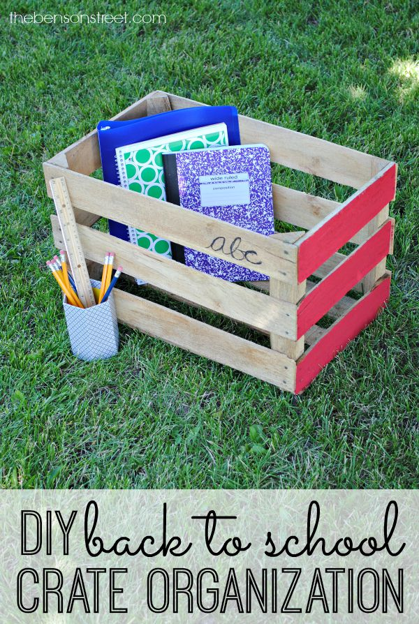 DIY Back to School Vintage Crate Organization