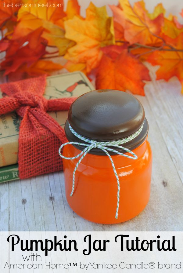 An Easy Fall Craft for Home Decor, Pumpkin Jar Tutorial with American Home™ by Yankee Candle® brand at thebensonstreet.com