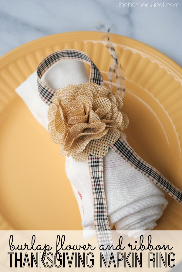 Burlap Flower and Ribbon Thanksgiving Napkin Ring Tutorial at thebensonstreet.com